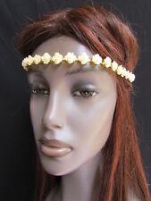 New Women Head Chain Fashion Cream Hair Gold Metal Jewelry Multi Flower Headband