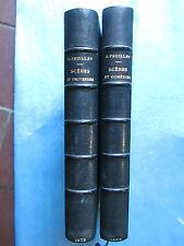 Octave FEUILLET : SCENES ET COMEDIES / PROVERBES, 1871/1876. Demi maroquin bleu.