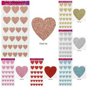 Self Adhesive Glitter Heart Sparkly Stickers - Sheet of 30 - 4 Sizes of Hearts