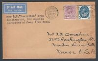 1929 GB KGV Congress stamp on Aeroplane Pick Up From Deck Flight cover to USA