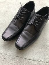 GREENWOODS MENS BLACK LEATHER SHOES SIZE 9