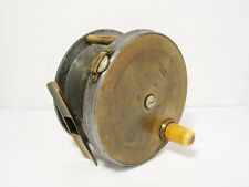 "Scarce Vintage Antique Farlow 4½"" Brass Faced Wide Drum Fly Fishing Reel"