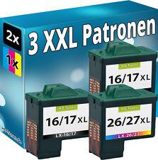 3x DRUCKER PATRONE REFILL für LEXMARK 17+27 / 16+26 TINTE PATRONEN 10NX217E