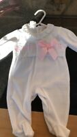 Girls Beautiful Spanish Slotted Ribbon /& Lace Rompers 3-24 Months ☆