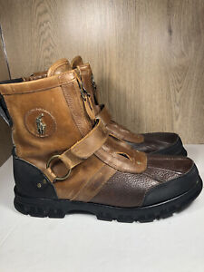 Polo Ralph Lauren Conquest HI III Leather Duck Boots Briarwood Tan Mens Size10D