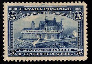 #99 Tercenenary Quebec 5c Canada mint well centered XF cv $150