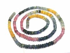 """Natural Multi Sapphire Faceted Rondelle Gemstone Necklace 16"""" Long 3-4mm Beads"""