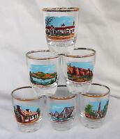Vintage Retro Set of Six Scotland Theme Shot Glass / Glasses c 1950s / 1960s