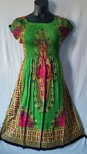Women Clothing African dashiki print Dress Rayon Elastic waist Free Size Green