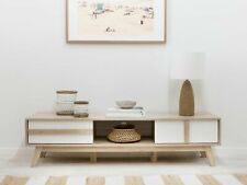 Brown Wooden TV Stand Living Room Lowline Entertainment Unit Modern Decor