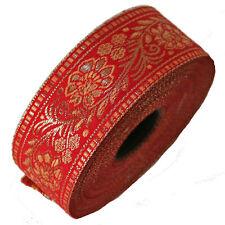 Bordure 1M Bordure Lfm 40mm Bande Ruban Tissé Bordure Sari Moyen Âge Rouge 4,0