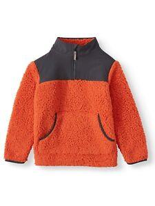 Wonder Nation Quarter Zip Snow Tip Sherpa Jacket, Deep Orange, Lage 10-12