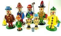 Vintage MIDWEST OF CANNON FALLS Wooden SMOKERS Figurines MADE IN TAIWAN Lot