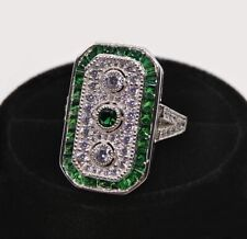 Art Deco Green Emerald Three stone Antique Engagement Wedding Ring 925 Silver