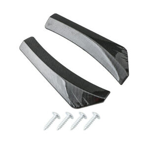 Car Rear Bumper Side Skirt Carbon Fiber Look Spoiler Lip Splitter Diffuser 2Pcs