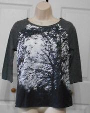 APT. 9 Women's Gray White Scene Print Chiffon Front Gray Jersey Back Top Size PS