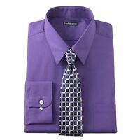 New Men's Croft & Barrow Fitted Point-Collar Purple Dress Shirt & Tie Set - $50.