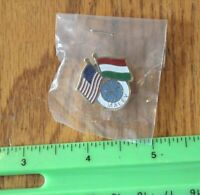 HUNGARY MALEV PAN AM AMERICAN PIN AIRWAYS AIRLINES RARE DOUBLE USA FLAGS VINTAGE