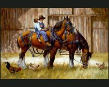 Back to the Barn  digital Panel Cotton quilt fabric Horse  36 x 44