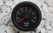 DREHZAHLMESSER DZM REV COUNTER SCHWARZ 52mm 0-8000 U 2 3 4 5 6 8 ZYLINDER RETRO