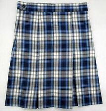 Girls A+ Blue, White, & Gray Plaid Pleated Uniform Skirt Size 8
