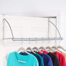 Over The Door Clothes Hanging Bar Valet Hanger Rack Hook for Clothes Towels Belt