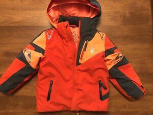 Spyder Boy's Ski Jacket Size 4 Winter Sports Orange Insulated Hood
