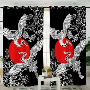 Japanese White Crane Bird Red Floral Window Living Room Bedroom Curtains Drapes