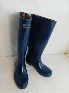 London Fog Women Navy Blue Rain Boots Size 8 Knee High Rainboots