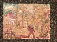 Watercolor By Listed Artist Jacobus Doeser Landscape with figure Mid Century