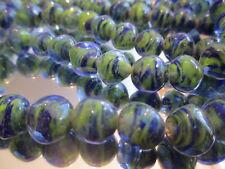 X130--50 Vintage West German Sapphire Square 10mm Glass Bead Blue & Green Swirl