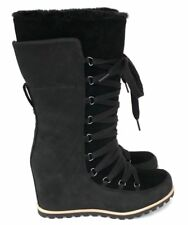 Ugg Mason Wedge Womens Lace Up Waterproof Suede Rubber Outsole Winter Boots