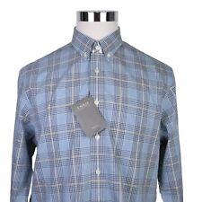 Enro Plaid Dress Shirt Size Large Mens Non Iron Blue Long Sleeve New