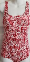 Lands' End Women's One Piece Swimsuit Tugless Softcup Red Floral Print Size 6