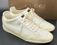 Authentic GUCCI GG Interlocking Logo Sneakers #9.5 White Leather Suede Rank AB