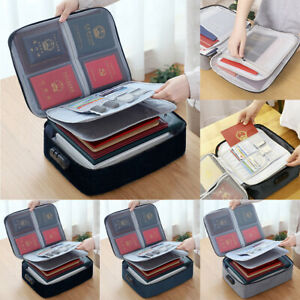 Travel Outdoor Document Papers Files Organizer With Lock Capacity Storage Bag