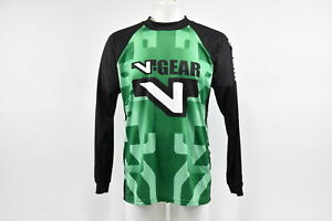 Verge Men's Small V-Gear BMX Long sleeve Cycling Jersey Crew Neck Green/White