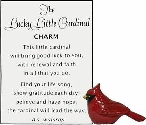 Ganz Lucky Little Pocket Comfort Cardinal Charm w Story Card (FREE SHIPPING)