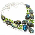 "Labradorite, Peridot Gemstone Silver Jewelry Necklace 18"" MQR-3103"