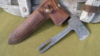 Vintage Western Boulder Colo. USA Knife Axe Combo Leather Sheath W/Ax blade nice