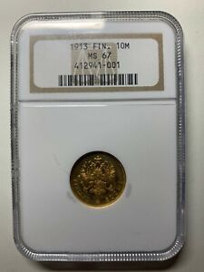 1913 Finland RUSSIA Gold 10 Markkaa COIN NGC Graded MS 67 1913