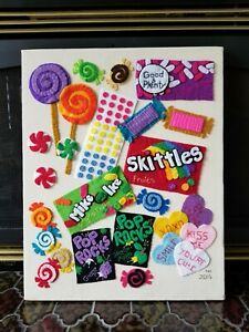 POP ART CANDY Stretched Canvas TEXTILE Wall Hanging SKITTLES/POP ROCKS Signed