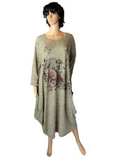 EG 46 48 50 Kleid Shirtkleid Baumwollkleid Beige meliert Strass ÜBERGRÖSSE