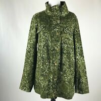 LOGO Lori Goldstein Women Green Printed Zip Up Jacket sz 14