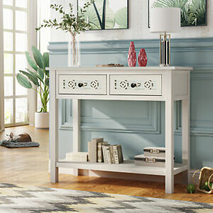 Classic Console Table,Hollow-out Decoration Two Top Drawers+Large Storage Space