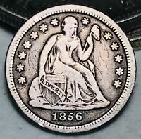 1856 Seated Liberty Dime 10c High Grade Details Small Date US Silver Coin CC5868