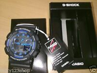 GA-100-1A2 Black Blue G-shock Casio Watches 200m Resin Band Analog Digital New