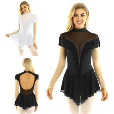 Women Ballet Dance Leotard Dress Ice Skating Dress Gymnastics Mesh Skirt Costume