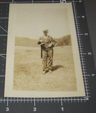 1930's GOLF CADDY Country Club Man Golfer Bag Sports Vintage Snapshot PHOTO
