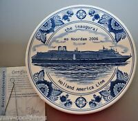 Royal Goedewaagen Blue Delft Plate,Inaugural Cruise of HOLLAND AMERICA Noordam